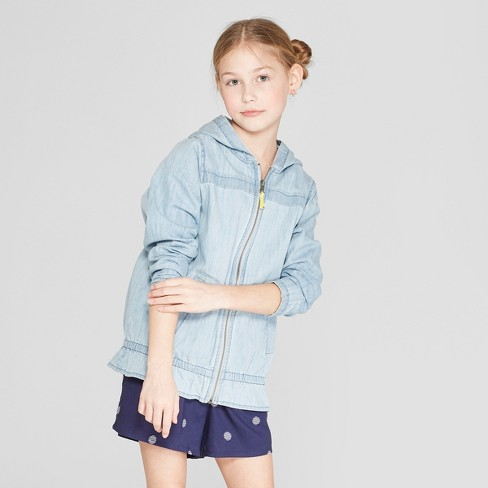 c068d609417 Girls' Long Sleeve Chambray Jacket - Cat & Jack™ Blue : Target