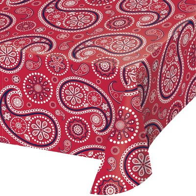 Paisley Plastic Tablecloth Red