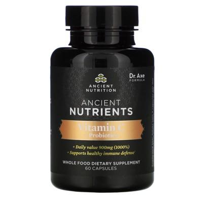 Dr. Axe / Ancient Nutrition Ancient Nutrients, Vitamin C + Probiotics, 60 Capsules, Vitamin C