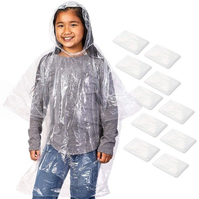 Juvale 10 Pack Kids Disposable Rain Ponchos with Ball, Child Emergency Waterproof Raincoat, 42.5 x 36.5 In