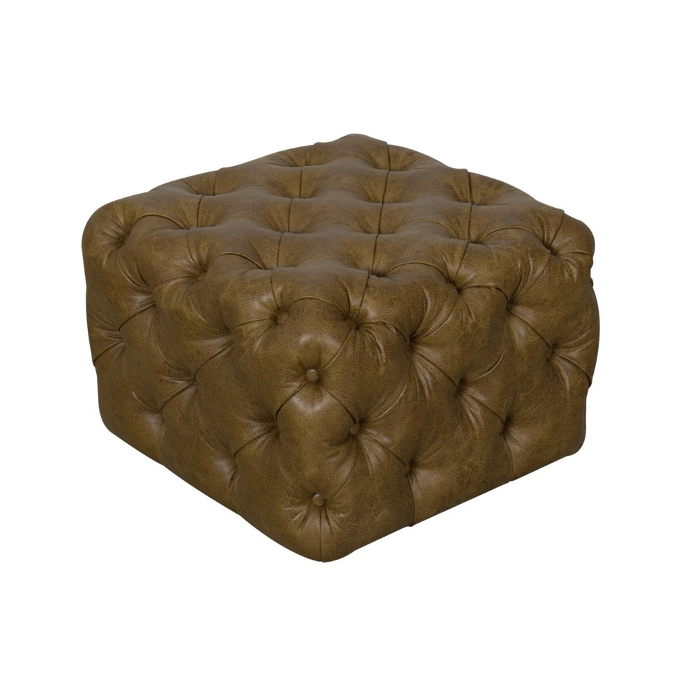 Small Square All Over Tufted Ottoman Light Brown - Homepop was $169.99 now $127.49 (25.0% off)
