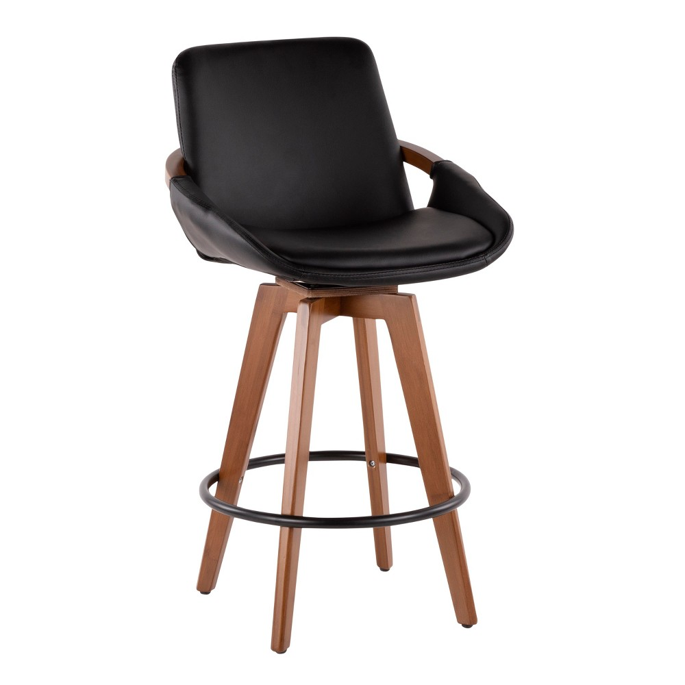 "Image of ""26"""" Cosmo Mid-Century Modern Counter Stool Black/Walnut - LumiSource, Black/Brown"""