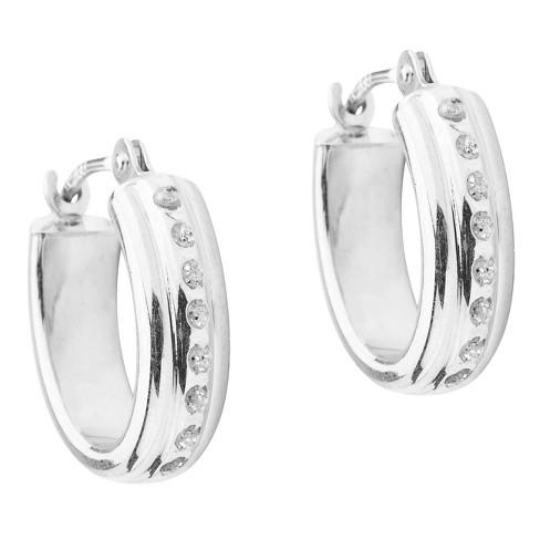 14k White Gold Diamond Accent Oval Hoop Earrings