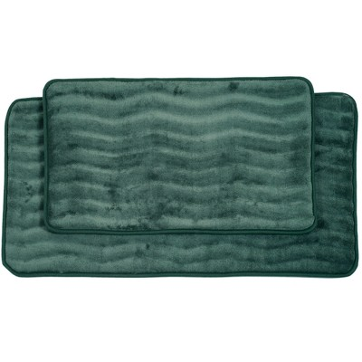 2pc Wave Bath Mat Green - Yorkshire Home