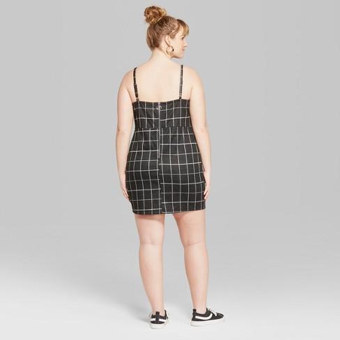 ada533b998a Women s Plus Size Strappy Plaid Knit Dress - Wild...   Target