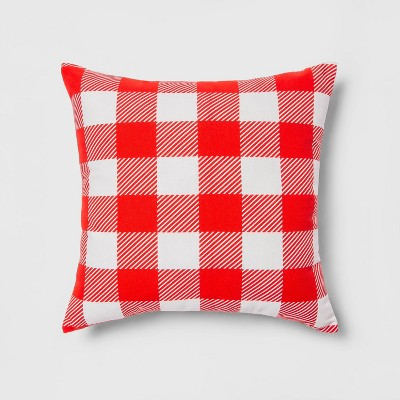 Indoor/Outdoor Gingham Throw Pillow Red/White - Sun Squad™