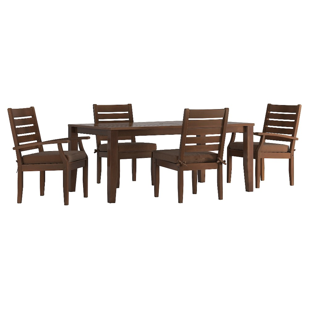 Parkview 5pc Rectangle Wood Patio Dining Set w/ Cushions - Brown/Brown - Inspire Q