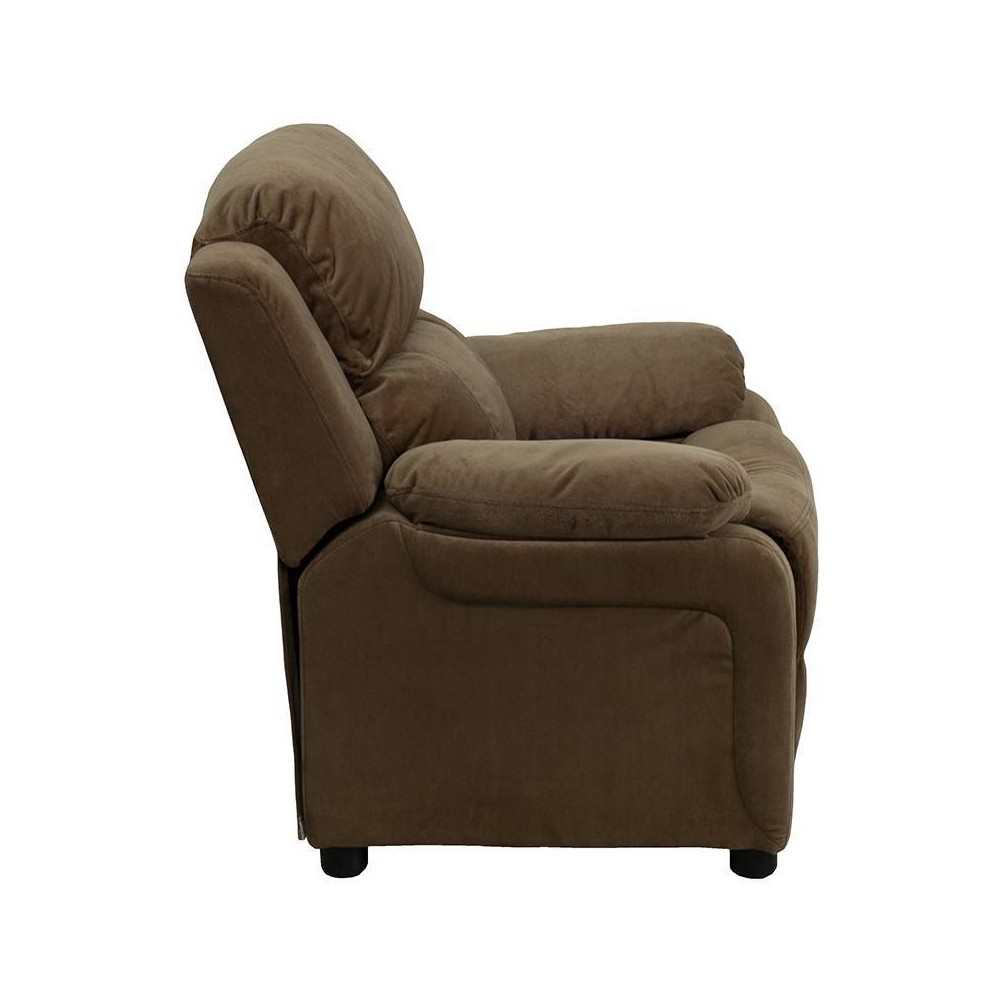 Deluxe Padded Contemporary Kids Recliner with Storage Arms Microfiber Brown - Riverstone Furniture
