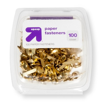 100ct Paper Fasteners Gold - up & up™
