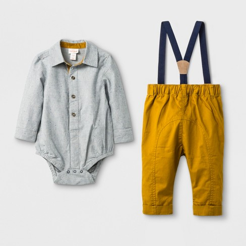 0cd3545c5646 Baby Boys  2pc Collared Button-Down Long Sleeve Bodysuit And Twill Pants  With Suspenders Set - Cat   Jack™ Gray Gold   Target