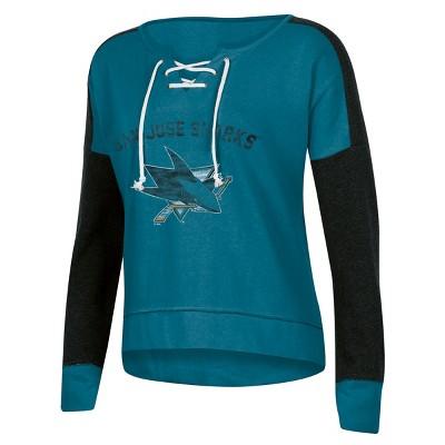 NHL San Jose Sharks Women's Warming House Open Neck Fleece Sweatshirt - M
