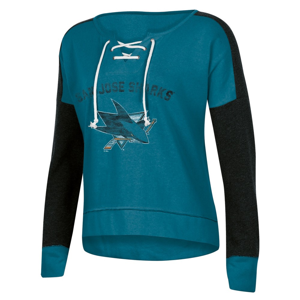 San Jose Sharks Women's Warming House Open Neck Fleece Sweatshirt M, Multicolored
