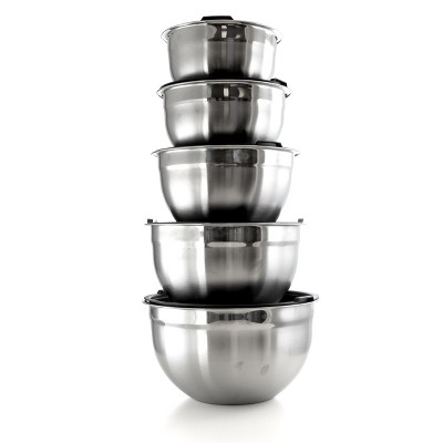 MegaChef 5 Piece Multipurpose Stackable Mixing Bowl Set with Lids