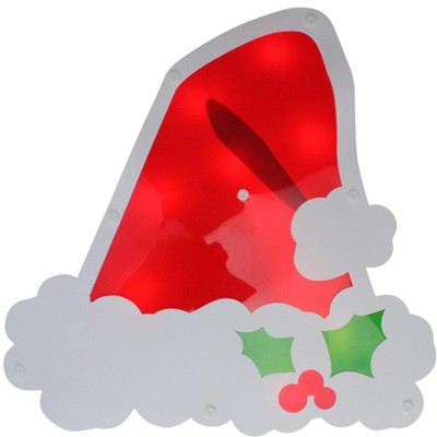 "Impact Innovations 12.5"" Lighted White and Red Santa Hat Christmas Window Silhouette Decoration"