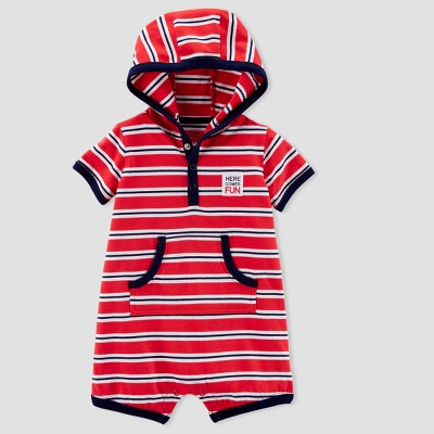Baby Boys' 1pc Stripe Hooded Romper - Just One You® made by carter's Red/Navy 6M