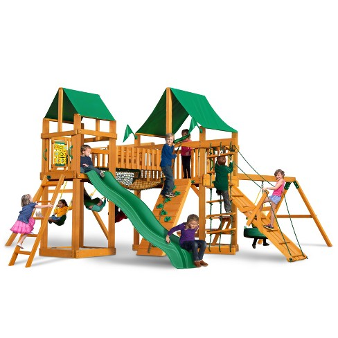 Gorilla Playsets Pioneer Peak Swing Set with Amber Posts & Deluxe Green Vinyl Canopy - image 1 of 3