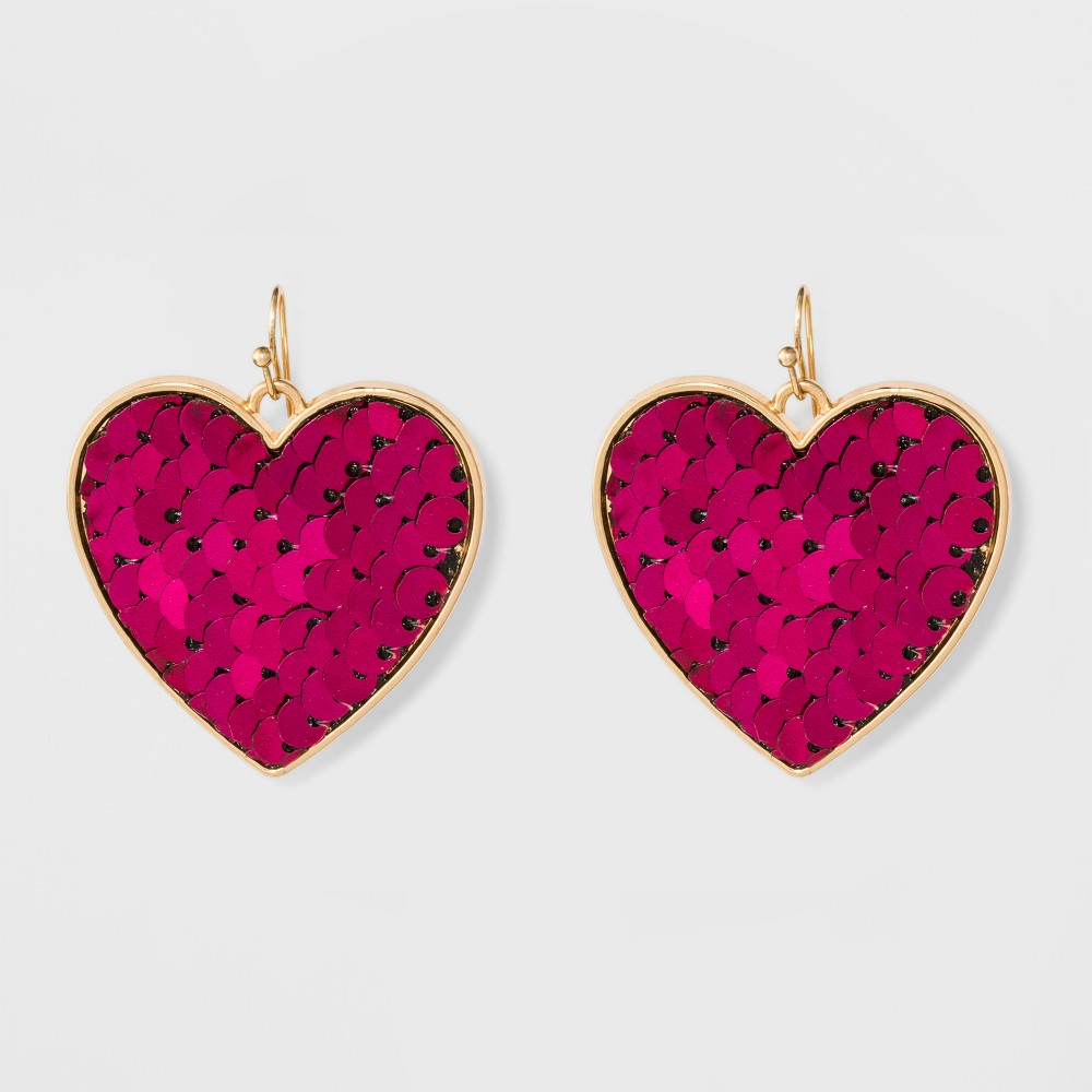 Heart with Sequin Earrings - Pink