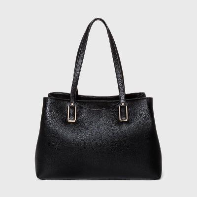 Bueno Snap Closure Tote Handbag - Black