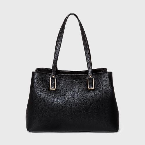 Bueno Snap Closure Tote Handbag Black