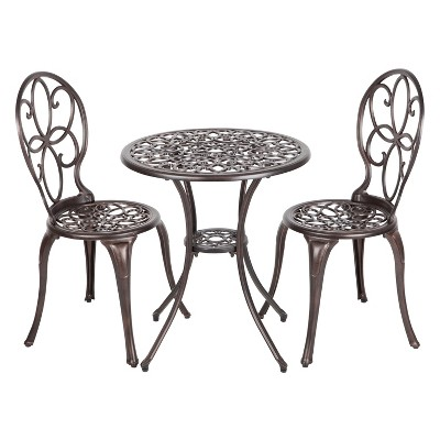 Arria 3pc Metal Patio Bistro Set - Antique Bronze - Fire Sense