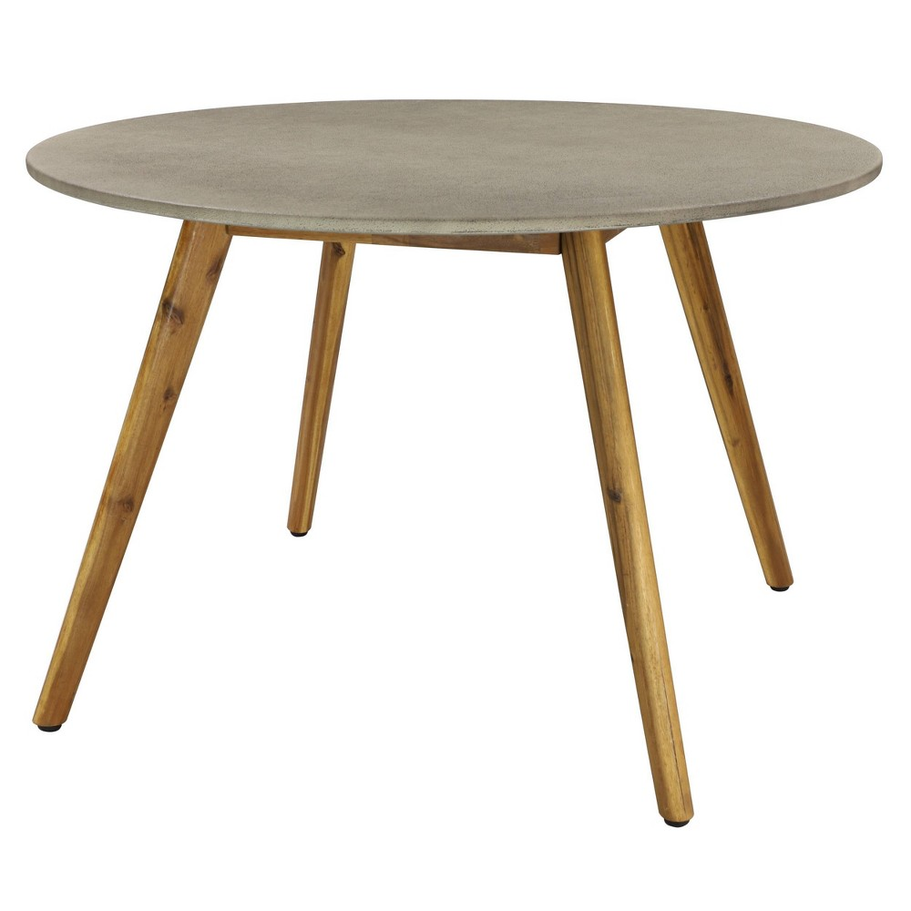 Image of Small Round Concrete Outdoor End Table - Gray - Olivia & May