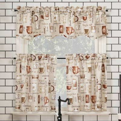 Bristol Coffee Shop Semi-Sheer Rod Pocket Kitchen Curtain Valance and Tiers Set Ivory - No. 918