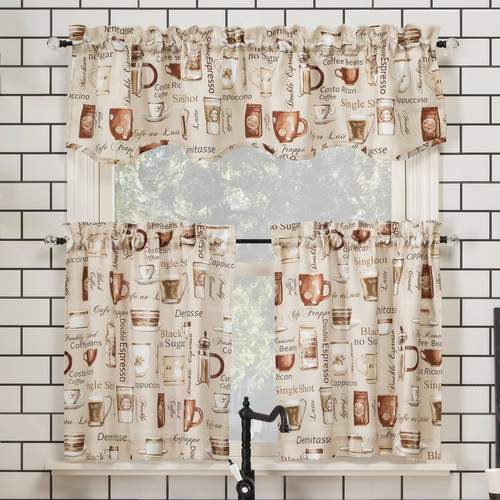 "Image of ""24""""x54"""" Bristol Coffee Shop Semi-Sheer Rod Pocket Kitchen Curtain Valance and Tiers Set Ivory - No. 918"""