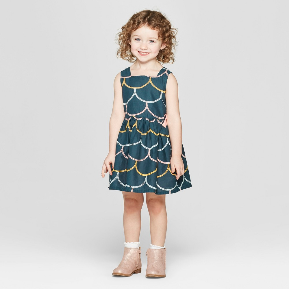 Toddler Girls' Scallop Embroidered A Line Dress - Genuine Kids from OshKosh Teal 2T, Blue