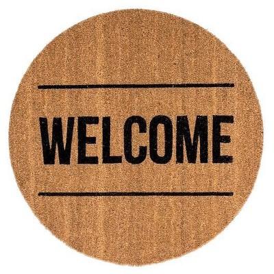 Round Coir Door Mat (27.5 )-  Welcome  - 3R Studios