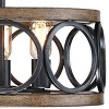 "Franklin Iron Works Rustic Farmhouse Ceiling Light Semi Flush Mount Fixture LED Black Circle Wood Grain 16"" Wide 3-Light Bedroom - image 3 of 4"