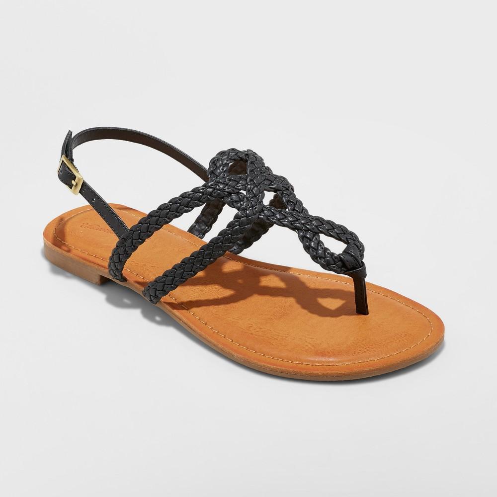 Women's Jana Braided Wide Width Thong Ankle Strap Sandal - Universal Thread Black 8W, Size: 8 Wide