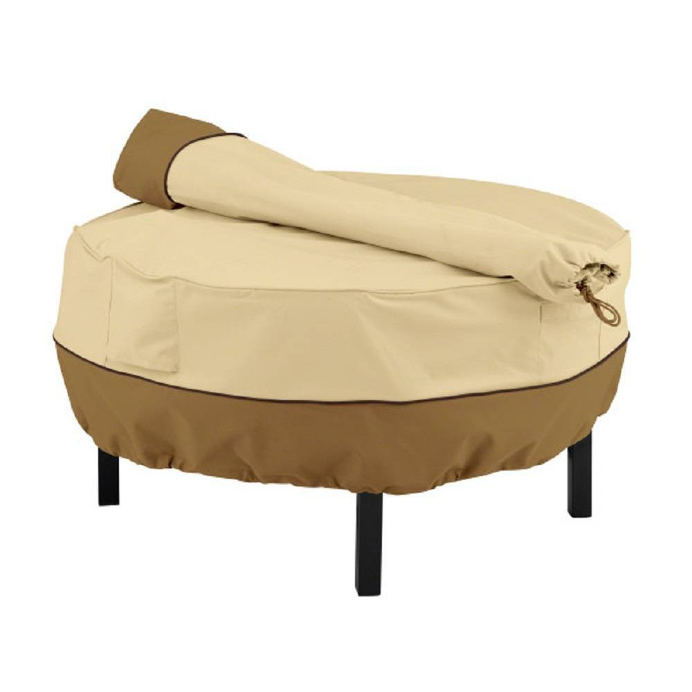 Veranda Cowboy Fire Pit Grill Cover and Rotisserie Storage Bag – Beige 76159005