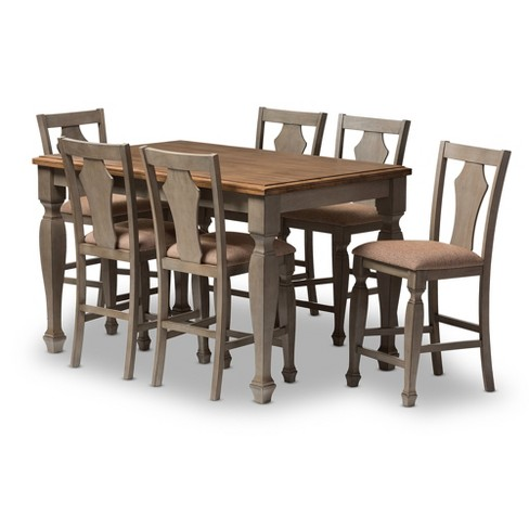 "Arianna Shabby Chic Country Cottage - 7 Piece Counter Height Dining Set - Gray, ""Oak"" Brown - Baxton Studio - image 1 of 8"