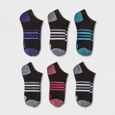 9c440dafebd20 Women s Flat knit No Show Striped Arch Socks 6pk Athletic socks - C9  Champion® Black 5-9