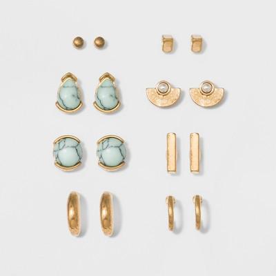 Semi-Precious, Teardrop, Crescent Hoop and Bar Earring Set 8ct - Universal Thread™