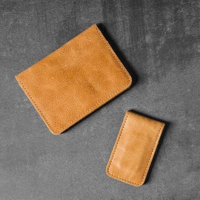 Leather Wallet/Money Clip Set (2pc)- Cognac - Hearth & Hand™ with Magnolia