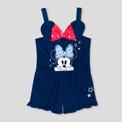 Toddler Girls' Disney Sleeveless Minnie Mouse Bow Shorts Romper - Navy 18M