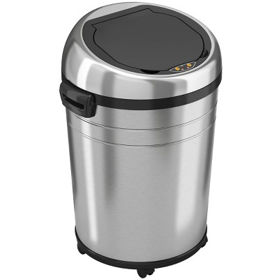 iTouchless Rolling Sensor Kitchen Trash Can with Wheels and AbsorbX Odor Filter 18 Gallon Silver Stainless Steel