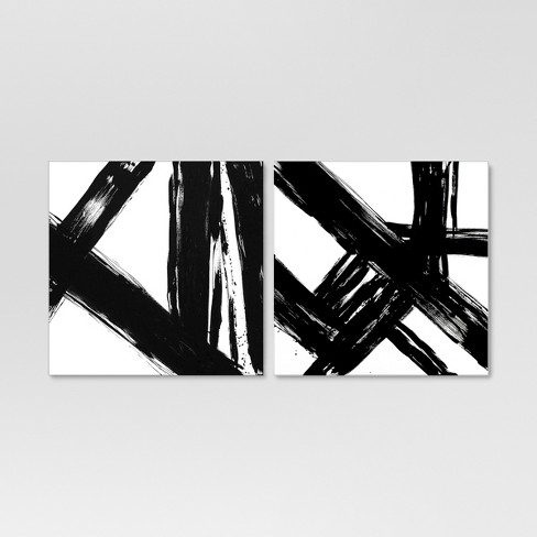 Abstract Black And White 22x22 2 Pack Embellished Canvas