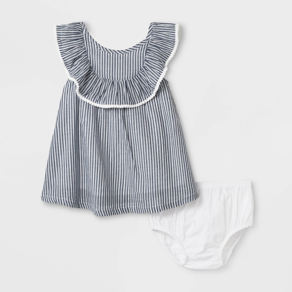 Baby Girls' Woven Ruffle Dress - Cat & Jack Blue 24M