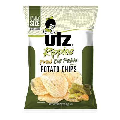 Utz Fried Dill Pickle Ripple Potato Chips- 9oz