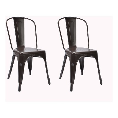 Carlisle High Back Metal Dining Chair Set of 2 - Antique Brown - Ace Bayou