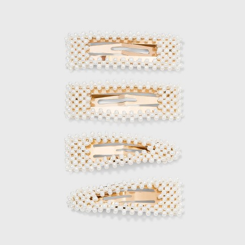 Pearl White Gold Snap Clip 4pc - A New Day™ Pearl - image 1 of 2