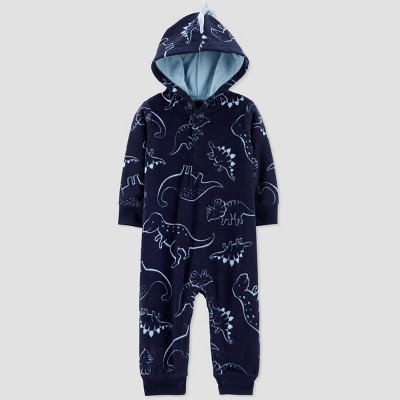 Baby Boys' Dino Hooded Fleece Romper - Just One You® made by carter's Navy Newborn