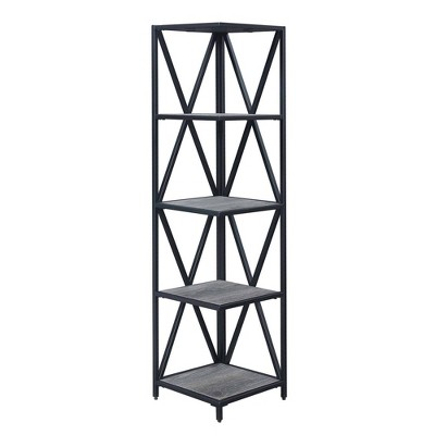 Tucson Metal 5 Tier Corner Bookcase - Johar Furniture