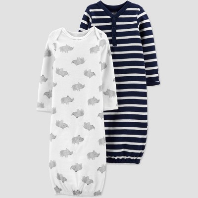 Baby Boys' 2pk Striped and Animal Print NightGown - Just One You® made by carter's White/Blue Newborn