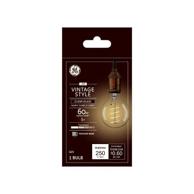 Vintage G25 Globe Spiral Clear LED Light Bulb White - General Electric