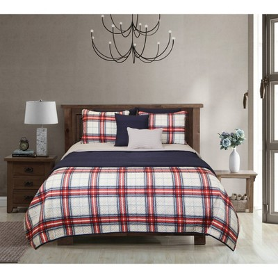 Riverbrook Home Red Layered Comforter & Coverlet Set Navy/Gray