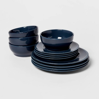 12pc Stoneware Everyday Dinnerware Set Blue - Threshold™