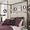 Manhattan Black Nickel Canopy Bed with Biscuit Tufted Headboard - Inspire Q - image 3 of 3